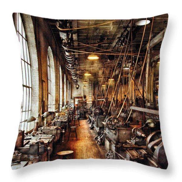 Machinist - Machine Shop Circa 1900's Throw Pillow by Mike Savad