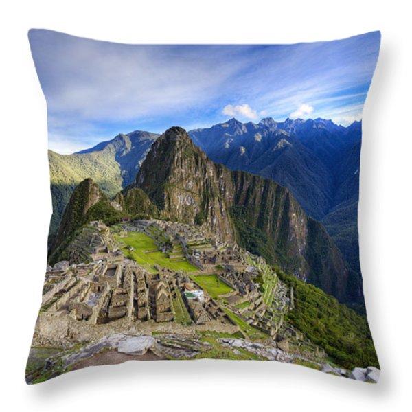 Machu Picchu Throw Pillow by Alexey Stiop