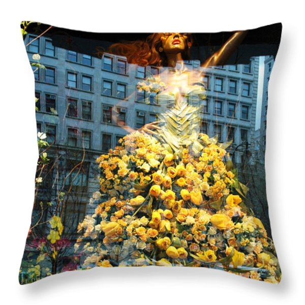 Macy's Yellow Rose Woman Throw Pillow by adSpice Studios