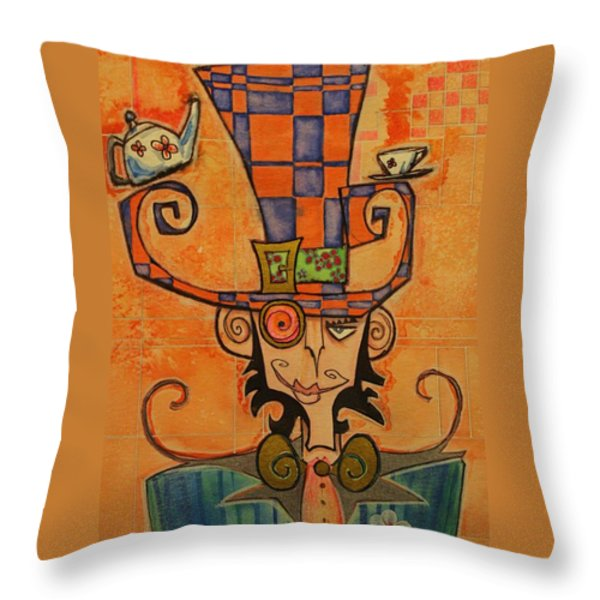 Mad Hatter Throw Pillow by Ellen Henneke