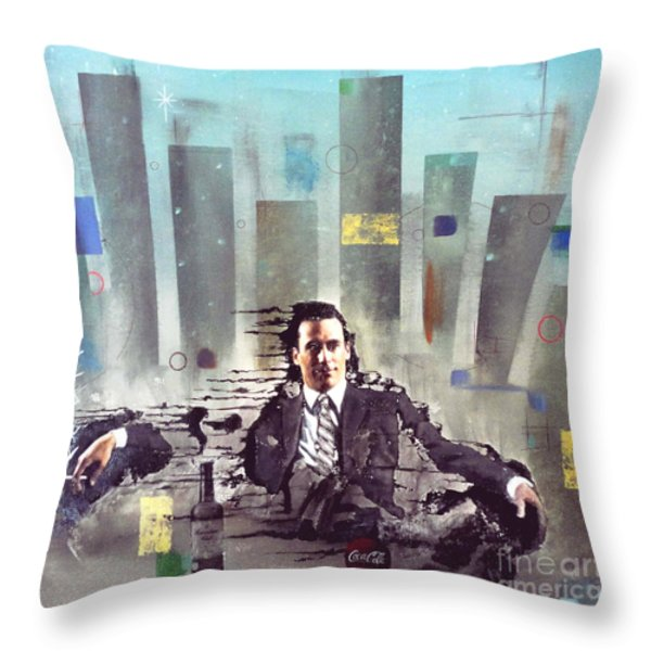 Mad Men Disintegration Of Don Draper Throw Pillow by John Lyes