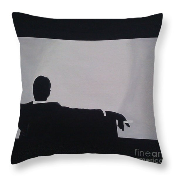 Mad Men in Silhouette Throw Pillow by John Lyes