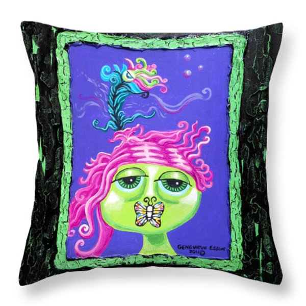 Mademoiselle Flutterby Throw Pillow by Genevieve Esson