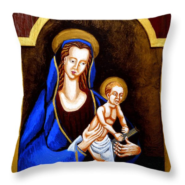 Madonna and Child Throw Pillow by Genevieve Esson
