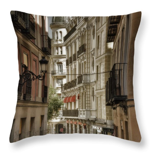 Madrid Streets Throw Pillow by Joan Carroll