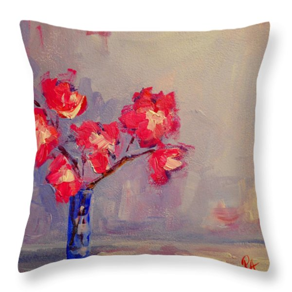 Magenta Flower Arrangement Throw Pillow by Patricia Awapara