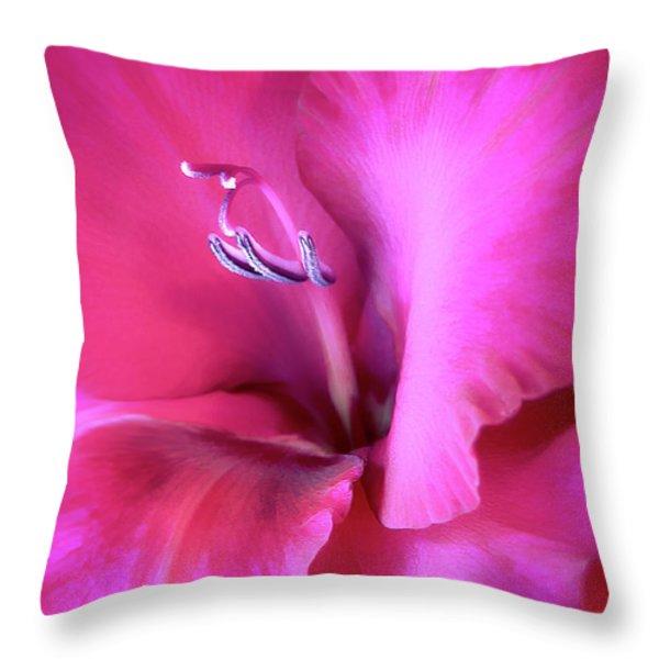 Magenta Splendor Gladiola Flower Throw Pillow by Jennie Marie Schell