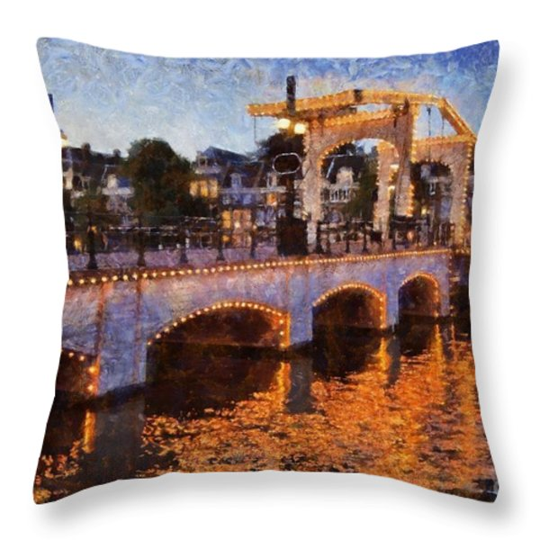 Magere Brug Bridge In Amsterdam Throw Pillow by George Atsametakis