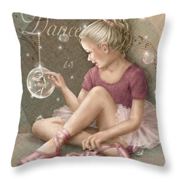 Magic Ballerina Throw Pillow by Beverly Levi-Parker