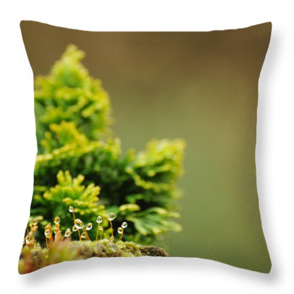 Magical World Of Green And Gold Throw Pillow by Rebecca Sherman