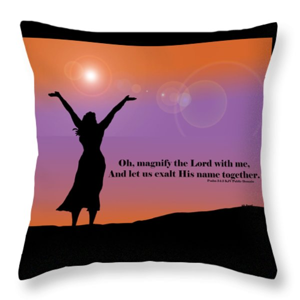 Magnify The Lord Throw Pillow by Kate Farrant