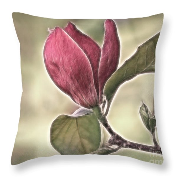 Magnolia Glow Throw Pillow by Susan Candelario