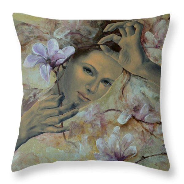 Magnolias Throw Pillow by Dorina  Costras