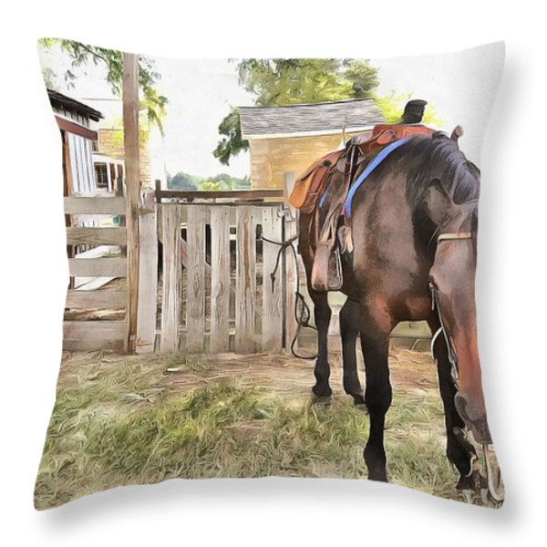 Mahaffie Stagecoach Stop And Farm Throw Pillow by Liane Wright
