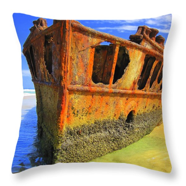 Maheno Shipwreck Throw Pillow by Ramona Johnston