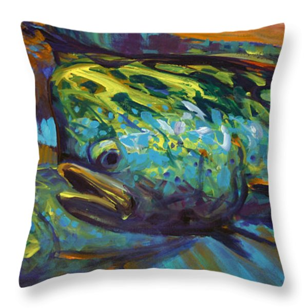 Mahi At Sunset Throw Pillow by Savlen Art