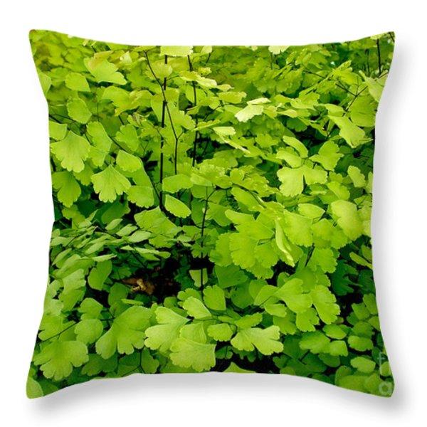 Maidenhair Fern Throw Pillow by Kaye Menner