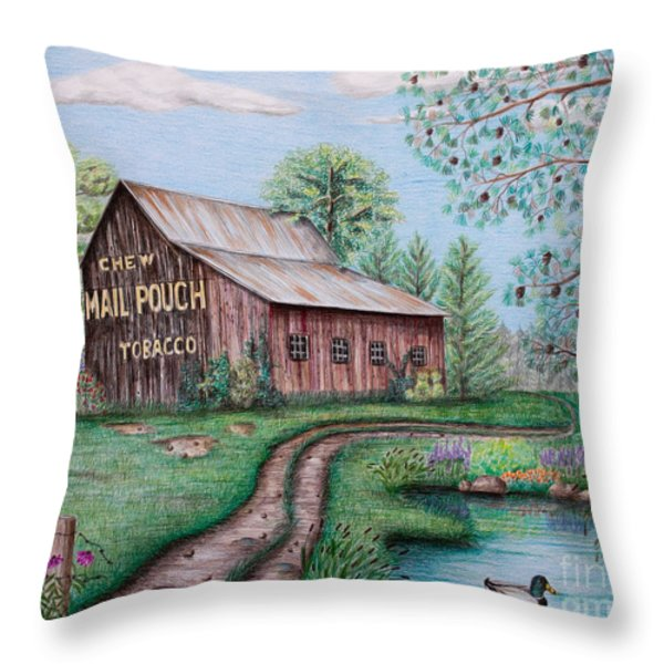 Mail Pouch Tobacco Barn Throw Pillow by Lena Auxier