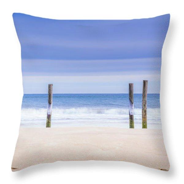 Main Beach Pilings Throw Pillow by Ryan Moore