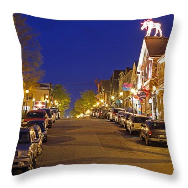 Main Street Bar Harbor Throw Pillow by Juergen Roth