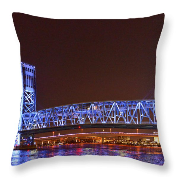 Main Street Bridge Jacksonville Throw Pillow by Christine Till