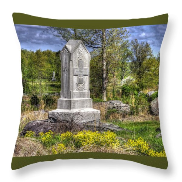 Maine At Gettysburg - 5th Maine Volunteer Infantry Regiment Just North Of Little Round Top Throw Pillow by Michael Mazaika
