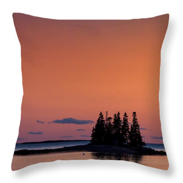 Maine Coastal Island Throw Pillow by John Greim