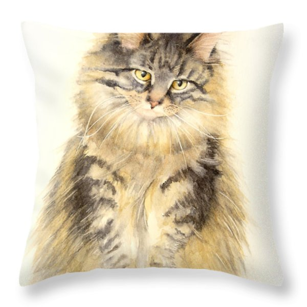 Maine Coon Cat Throw Pillow by Bonnie Rinier