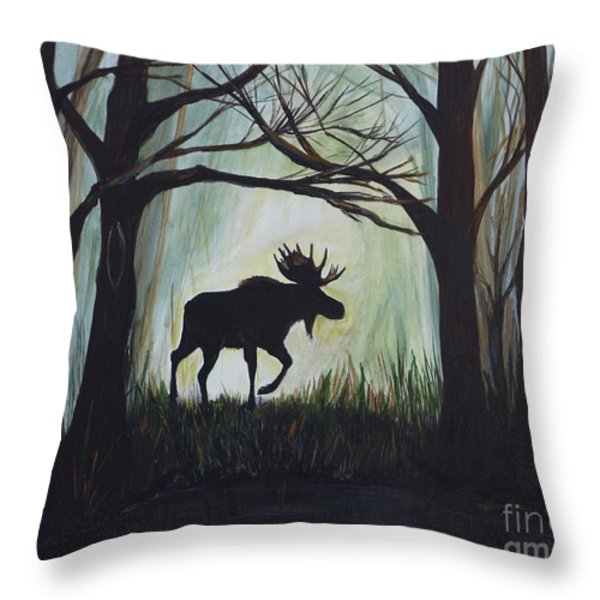 Majestic Bull Moose Throw Pillow by Leslie Allen