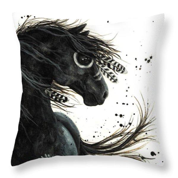 Majestic Friesian Throw Pillow by AmyLyn Bihrle