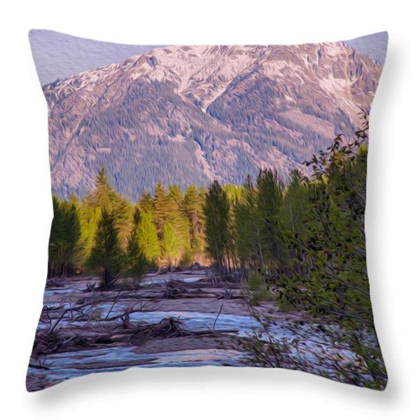 Majestic Mountain Morning Throw Pillow by Omaste Witkowski