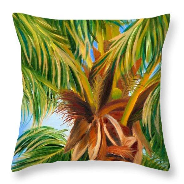 Majestic Palm Throw Pillow by Shelia Kempf