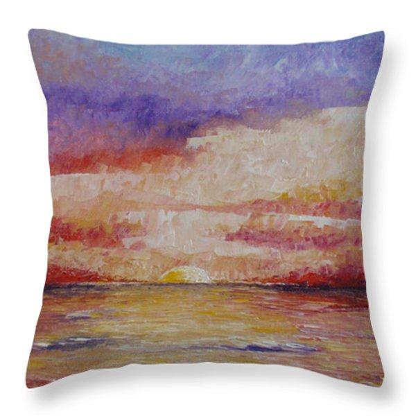 Majestic Sunset  Throw Pillow by Tatjana Popovska