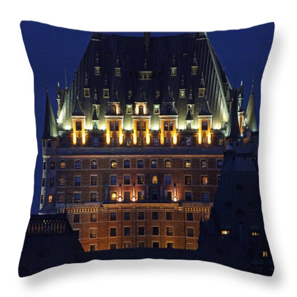 Majesty Of Chateau Frontenac In Quebec City Throw Pillow by Juergen Roth