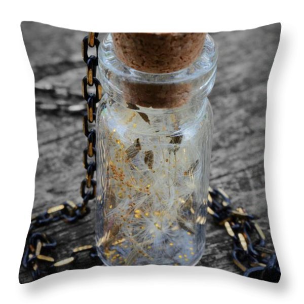 Make A Wish - Dandelion Seed In Glass Bottle With Gold Fairy Dust Necklace Throw Pillow by Marianna Mills