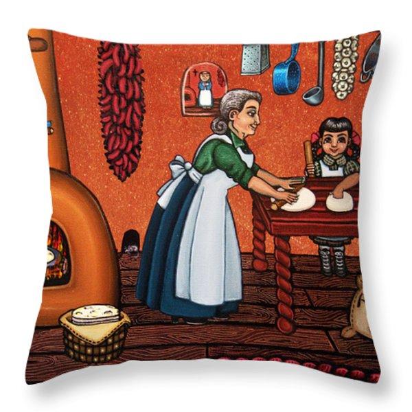 Making Tortillas Throw Pillow by Victoria De Almeida