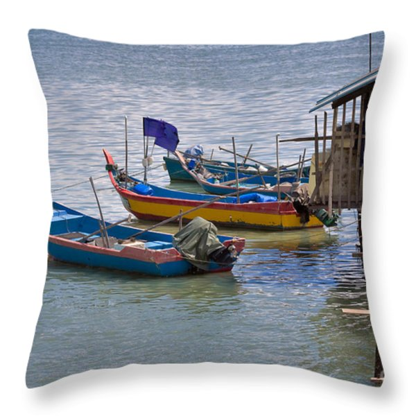 Malaysian Fishing Jetty Throw Pillow by Louise Heusinkveld