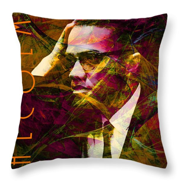 Malcolm X 20140105 With Text Throw Pillow by Wingsdomain Art and Photography