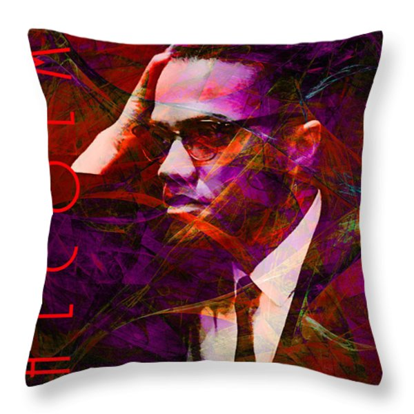 Malcolm X 20140105m28 With Text Throw Pillow by Wingsdomain Art and Photography