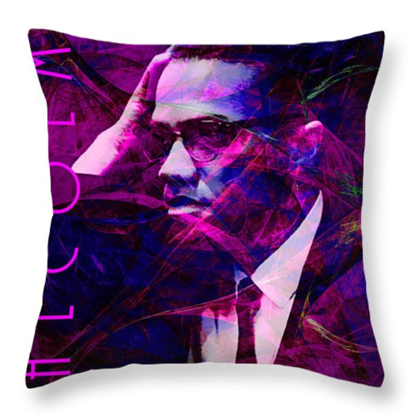 Malcolm X 20140105m88 with text Throw Pillow by Wingsdomain Art and Photography