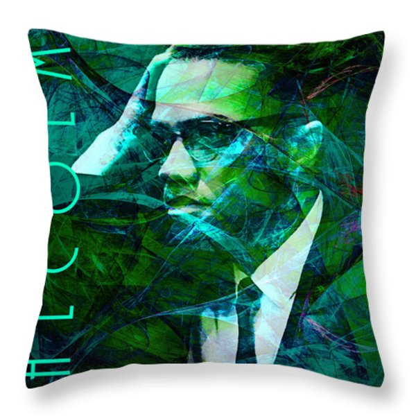 Malcolm X 20140105p138 with text Throw Pillow by Wingsdomain Art and Photography