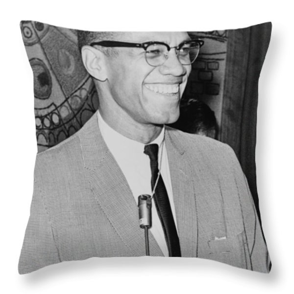 Malcolm X Throw Pillow by Ed Ford