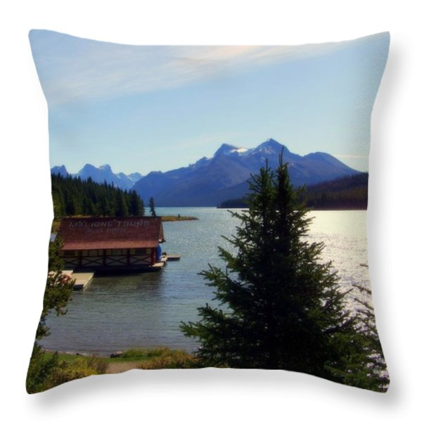 Maligne Lake Boathouse Throw Pillow by KAREN WILES