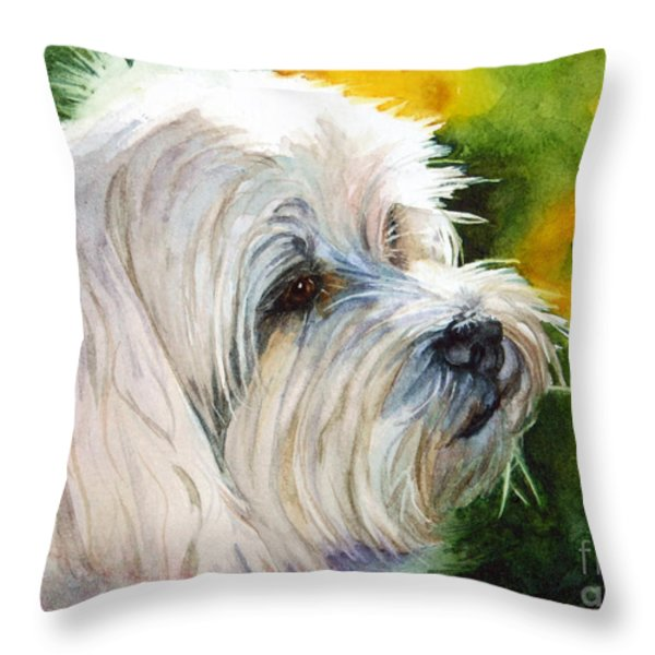 Maltese Throw Pillow by Bonnie Rinier