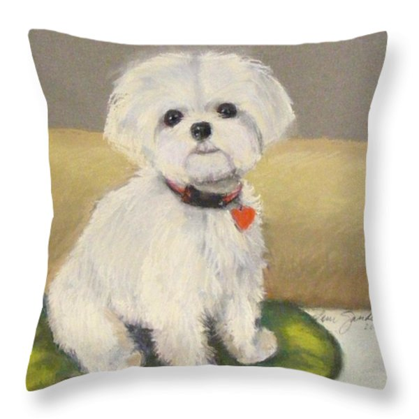 Maltese Jeeter Throw Pillow by Lenore Gaudet