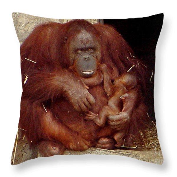 Mama N Baby Orangutan - 54 Throw Pillow by Gary Gingrich Galleries