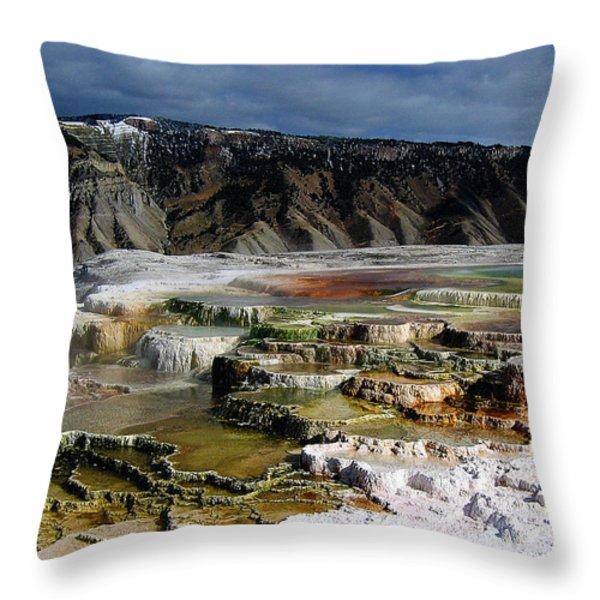 Mammoth Hot Springs Throw Pillow by Robert Woodward
