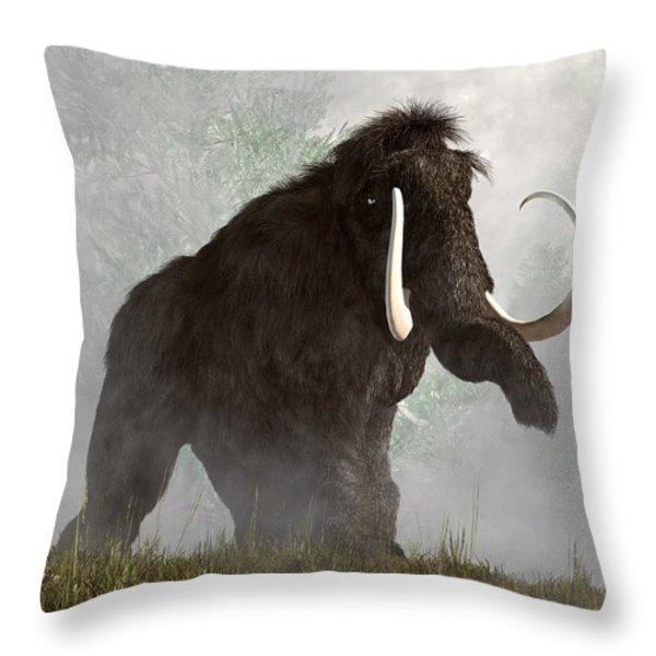 Mammoth In The Fog Throw Pillow by Daniel Eskridge