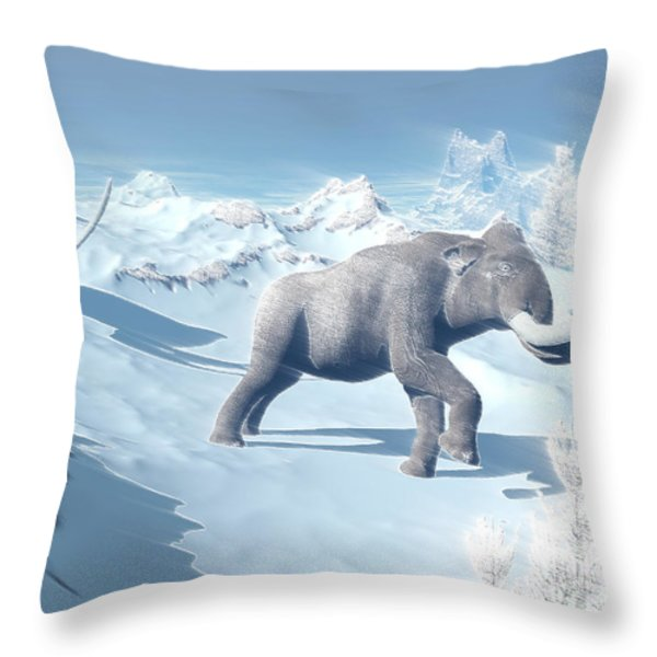 Mammoths Walking Slowly On The Snowy Throw Pillow by Elena Duvernay