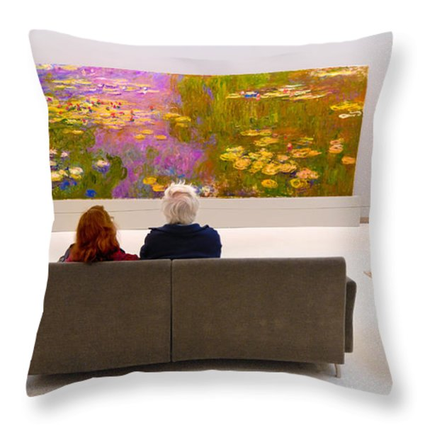 Man And Woman And Monet Painting At Carnegie Museum In Pittsburgh Pennsylvania Throw Pillow by Amy Cicconi